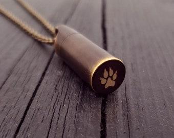 Dog Paw Print Tear Drop Cremation Ash Urn Necklace - Solid Bronze - Custom Engraved Personalised Mourning Pet Urn