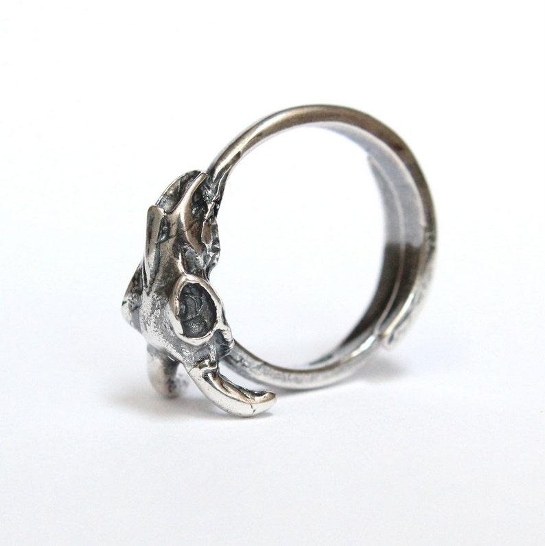 Little Silver Ram Skull Ring