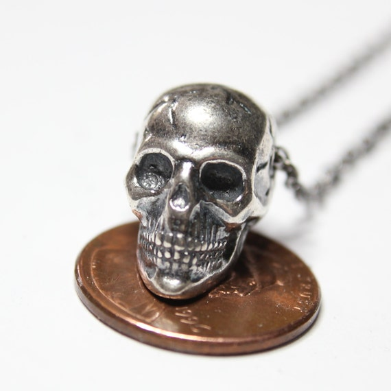 1 Skull charm antique silver tone stainless steel HC198