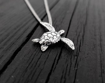 Sea Turtle Charm Pendant Necklace - Solid Cast 925 Sterling Silver - Polished Oxidized Finish - Multiple Chain Lengths - Unisex Turtle Gift