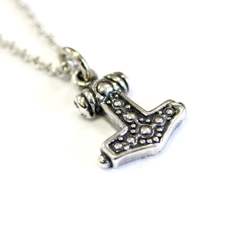 Ladies Mjolnir Necklace Solid Sterling Silver Thors Hammer in Solid Sterling Silver Hobnail Design