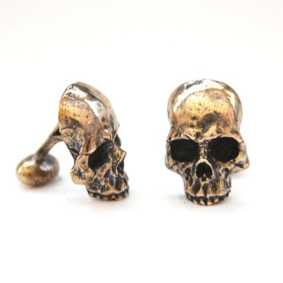 Gothique Skull Onyx Art Boutons de manchette pr/ésent/é dans une bo/îte /à boutons de manchette