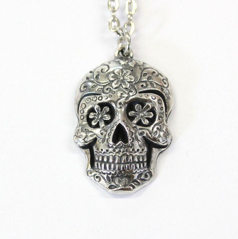 Sugar Skull Pendant Large Sugar Skull Necklace Silver Sugar image 0