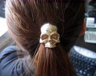 SALE - Skull Pony tail Holder Hair Tie / Necklace Solid Bronze Human Skull Ponytail Holder 052