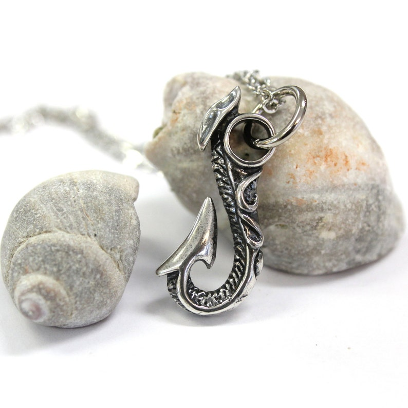 Fish Hook Necklace Silver Fish Hook Pendant Necklace Hawaiian Fish Hook Necklace