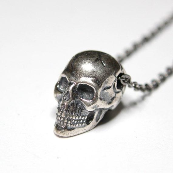 "SAINTE SAINT mort Santa Muerte Skull Biker Argent Collier Pendentif Boîte Chaîne 24/"""