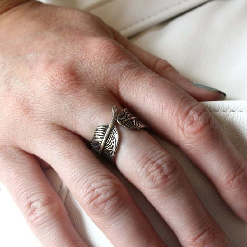 Solid White Bronze with Sterling Silver Overlay, 9 Raven Feather Bypass Adjustable Ring
