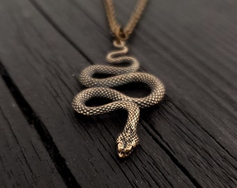 Viper Snake Pendant Necklace - Solid Hand Cast Bronze - Polished Oxidized Finish - Multiple Chain Lengths - Serpent Jewelry