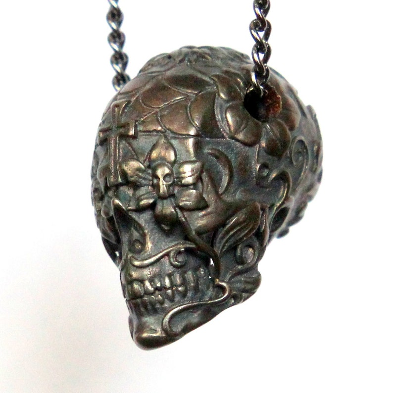 9760399bd Sugar Skull Necklace Dark Oxidized Bronze Sugar Skull Pendant | Etsy