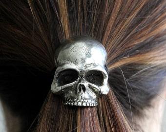 Skull Pony Tail Holder / Necklace Silver Human Skull Hair Tie