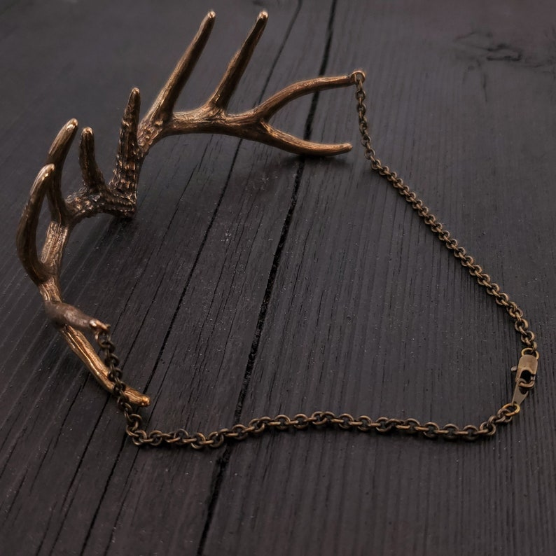 Unique Deer Stag Statement Piece Polished Oxidised Finish Antler Choker Necklace Solid Hand Cast Jewelers Bronze Three Dimensional