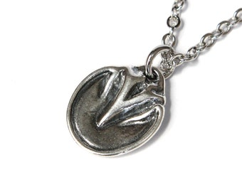 Silver Barefoot Horse Hoof Necklace in Solid White Bronze with Sterling Overlay 299