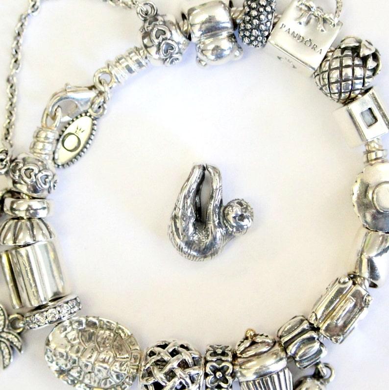 81a04af74 Sloth Charm Animal Bead for Bracelet 925 Sterling Silver | Etsy