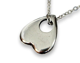 Tiny Heart Shaped Ouija Planchette Necklace in Solid Sterling Silver 367