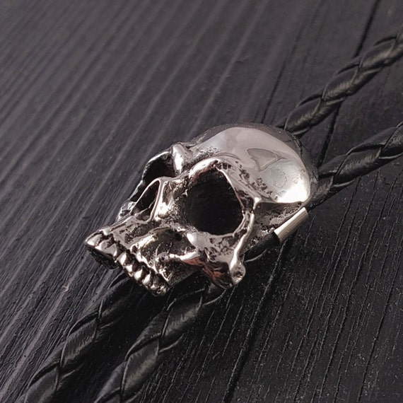 Western Bolo Tie Cast Jeweled Skull Ornament; 3-D detail