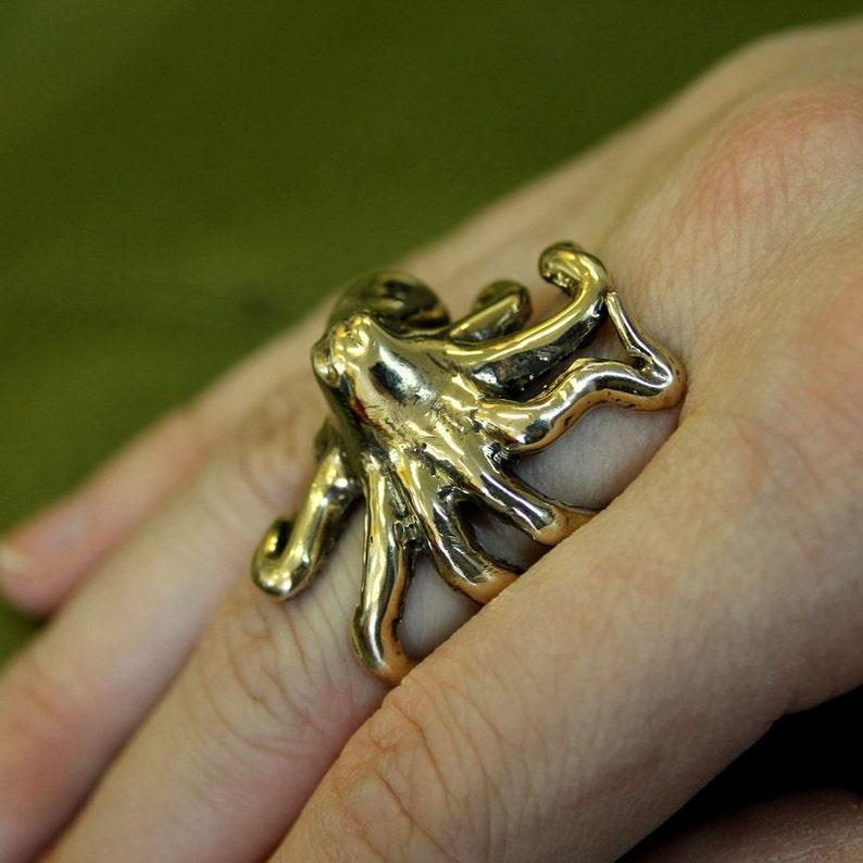 Octopus Ring in Solid Bronze Octopus Ring Sideways Octopus image 0