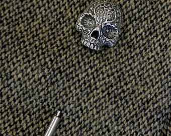 Sugar Skull Lapel Pin Silver Day of the Dead Stick Pin