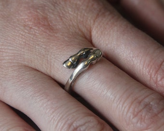 Horse Hoof Ring in Solid White Bronze with Sterling Silver Overlay 324