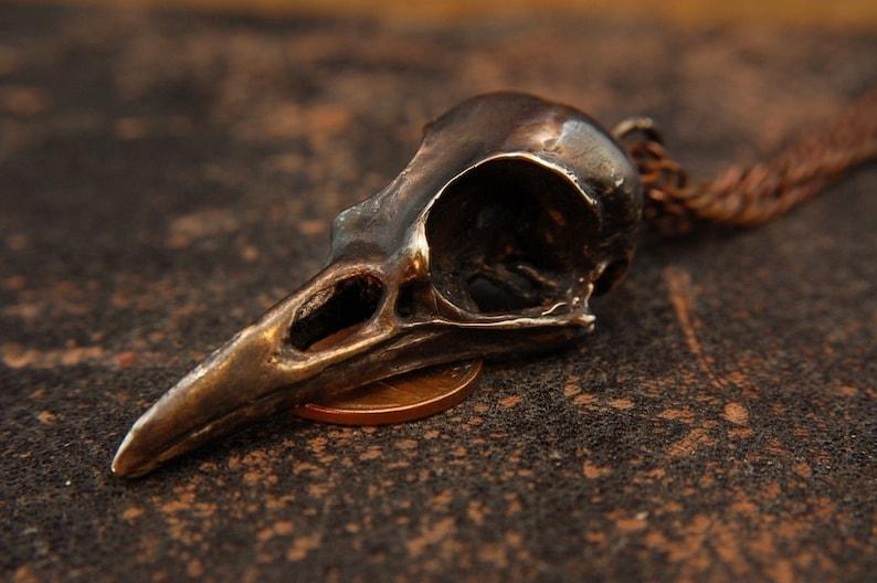 Raven Skull Necklace Aged Bronze Raven Skull Pendant Necklace Raven Skull Jewelry