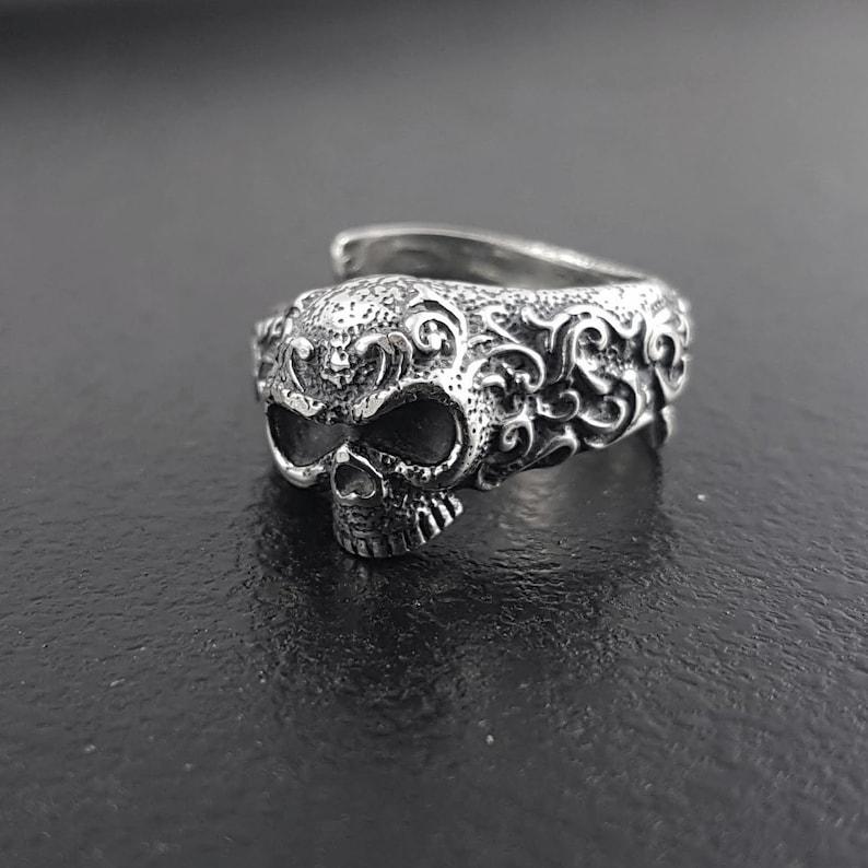 Ornate Sugar Skull Ring  Solid Cast Oxidized .925 Sterling image 0