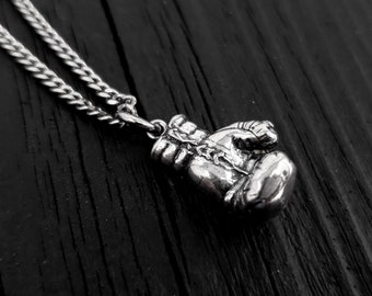 Boxing Glove Charm Pendant Necklace - Solid Cast 925 Sterling Silver - Polished Oxidized Finish - Multiple Chain Lengths Available