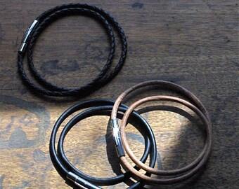 Mens Leather Wrap Bracelet - Rustic, Sleek and Hip