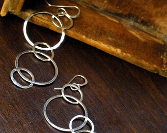 Long Silver Linked Hoop Earring Cascade - Rustic, Boho Chic