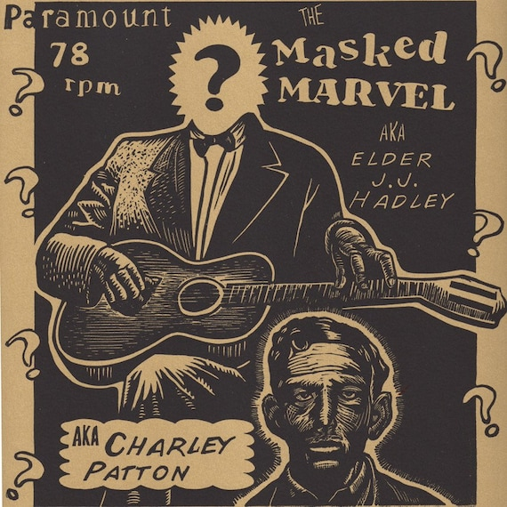 Charley Patton Blues music inspired art print poster Re-imagined and specially created