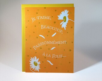 Letterpressed French Love Card