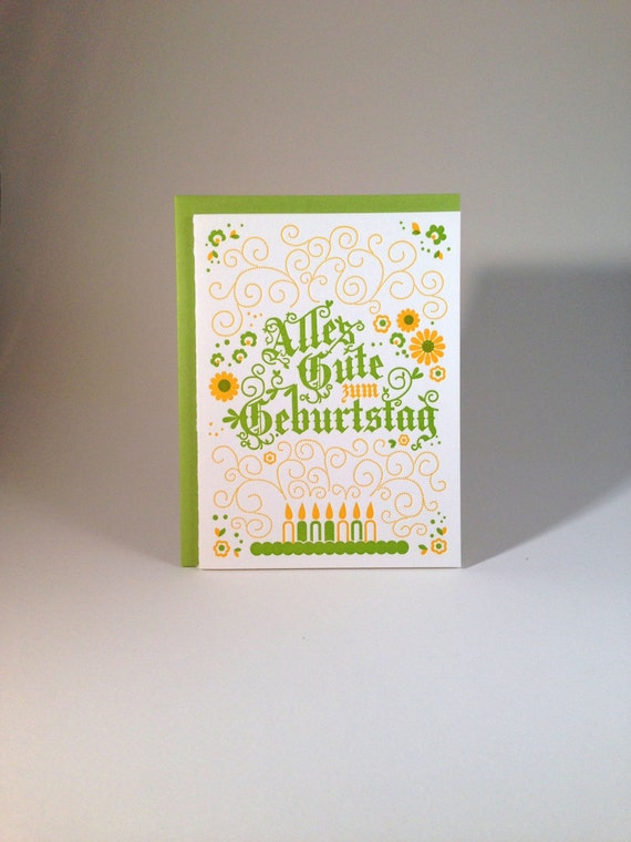 Letterpress German Birthday Card Alpine Green And Yellow Etsy