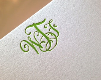 WTF Monogram letterpress stationery set- 8 pack