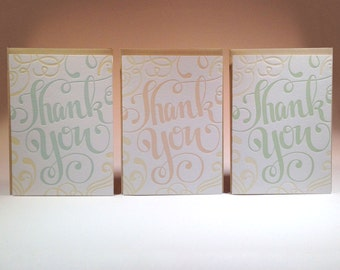 Thank You Hand-Lettered Letterpress Card Set Six Pack