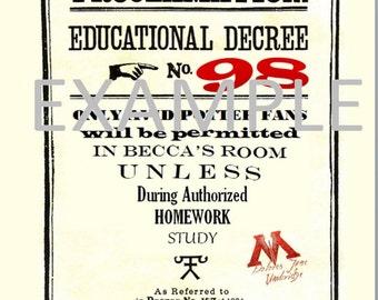 Harry Potter Educational Decree Template - DIGITAL DOWNLOAD