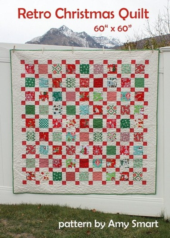 Pattern Retro Christmas Quilt Pattern Etsy
