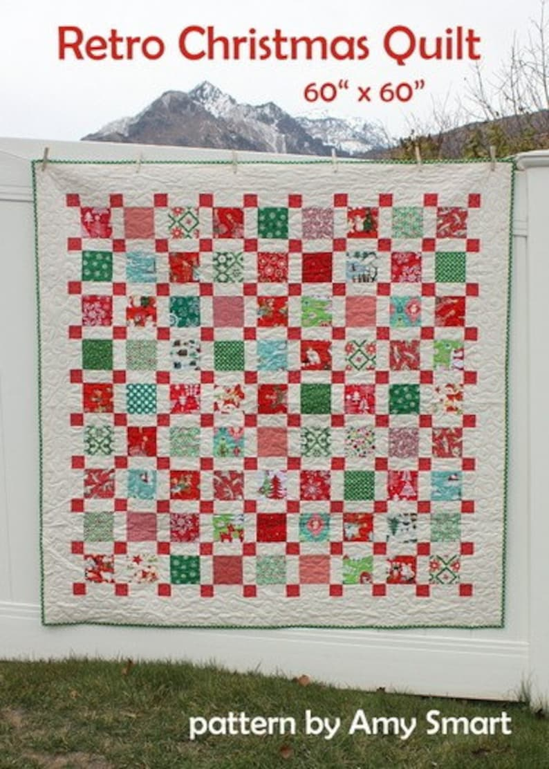 Christmas Quilt.Pattern Retro Christmas Quilt Pattern