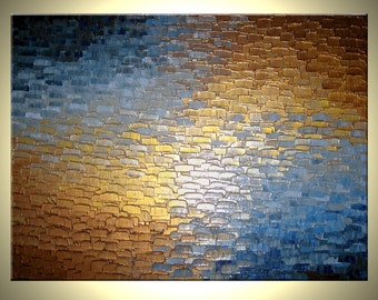 Original Abstract Art - Gold Metallic Painting - Palette Knife Abstract - Blue and Bronze - Fine Art by Lafferty - 30 x 40 - Art On Sale