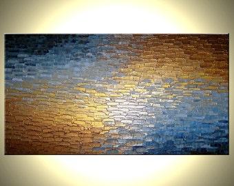 Original Abstract Painting, Original Painting By Dan Lafferty - Metallic, Palette Knife Abstract  Modern Textured Art - 24 x 48