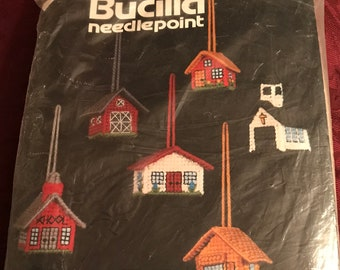 Vintage—Bucilla—Plastic Canvas—Needlepoint Kit—Little Buildings—Christmas Ornaments—Makes 6