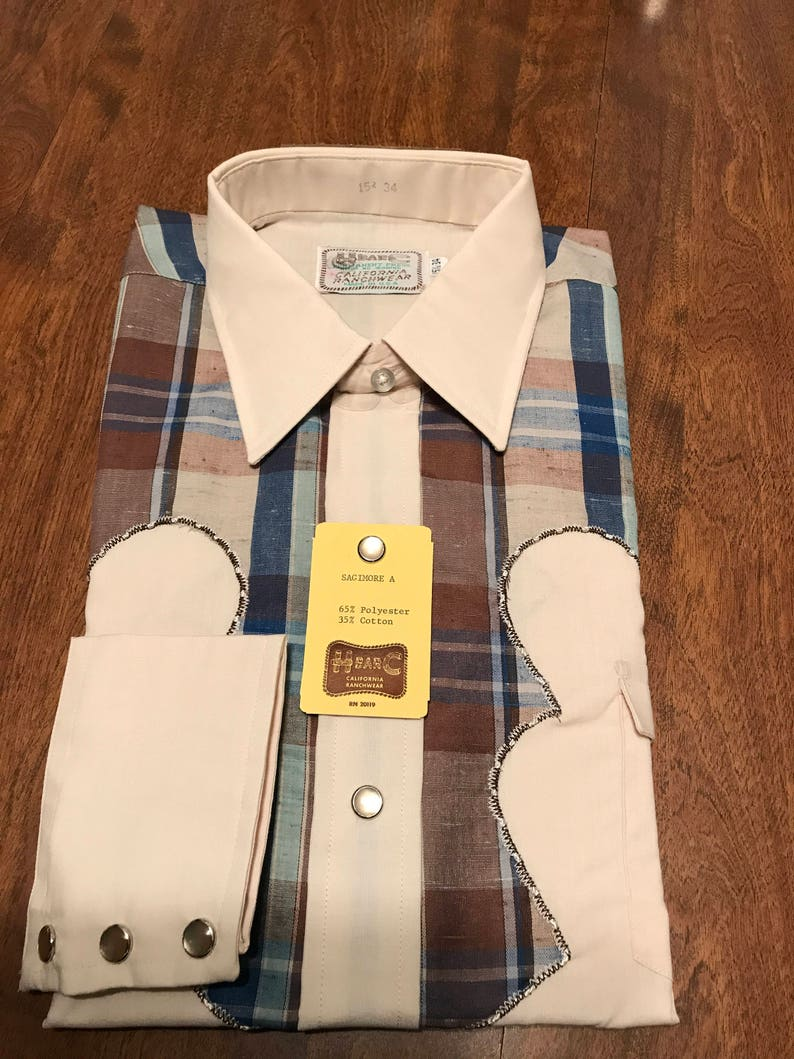 Vintage\u2014Rockabilly--Western Shirt--NOS--Long Sleeves--15-1234--H Bar C--California Ranchwear--Line Dancing--Pearl Snaps