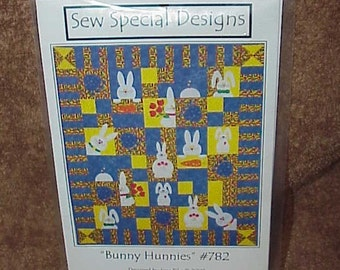 Bunny Hunnies--Applique QUILT--Pattern--Rabbits--Pillow Pattern--by Joni Pike
