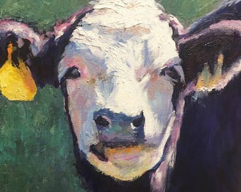 Cow Painting, canvas giclee print, Belle