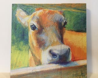 Bashful Jersey Cow Wood Print