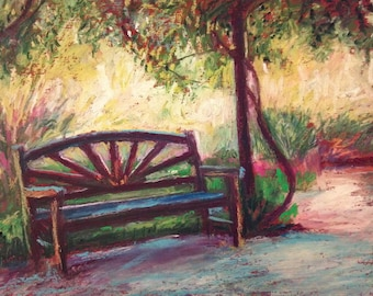 Garden Bench Painting, Original Oil Pastel,  7 x 9, Shady Spot by Bethany Bryant