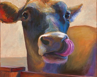 Cow Painting, canvas giclee print, Lickety Split