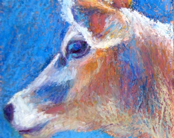 Cow Painting, 4 x 4 Original Oil Pastel, Bluebell by BethanyBryant
