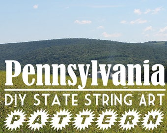 """Pennsylvania - DIY State String Art Pattern - 11"""" x 6.5"""" - Hearts & Stars included"""