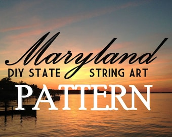 """Maryland - DIY State String Art Pattern - 12"""" x 6.5"""" - Hearts & Stars included"""