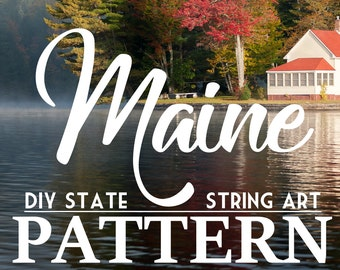 """Maine - DIY State String Art Pattern - 8"""" x 12"""" - Hearts & Stars included"""