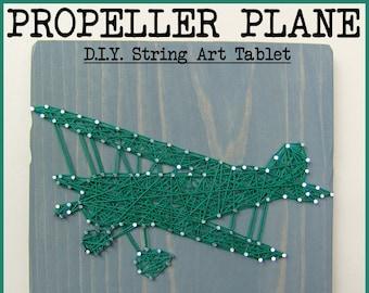 "DIY String Art Pattern - Propeller Plane - 10"" x 6"""