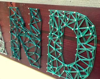 Oakland Pride - Modern String Art Wooden Name Tablet - 7 letters